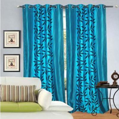 Ech Oly Polyester Aqua Printed Eyelet Door Curtain