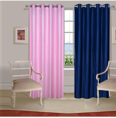 Fogg Polyester Pink, Blue Solid Eyelet Door Curtain