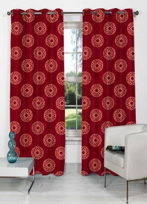 NuHome Decor Polyester Red Abstract Eyelet Long Door Curtain