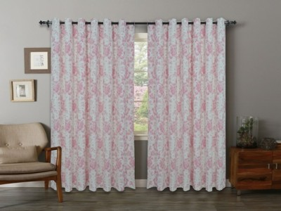 Home Boutique Cotton Grey, White Floral Eyelet Long Door Curtain