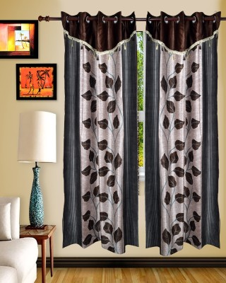 Maple Polyester Brown Floral Rod pocket Window & Door Curtain