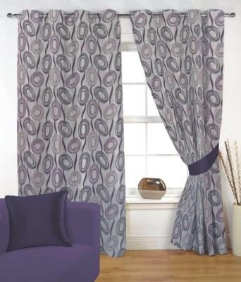 Fabutex Polyester Purple Floral Eyelet Door Curtain
