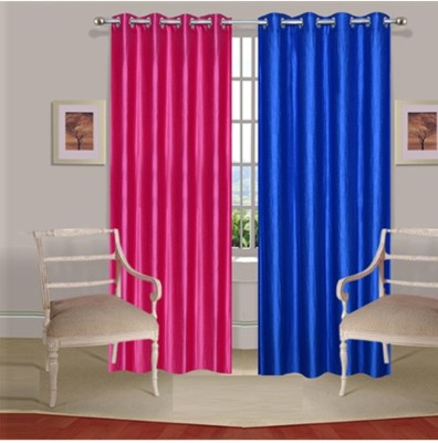 Fogg Polyester Pink, Blue Solid Tab Top Door Curtain