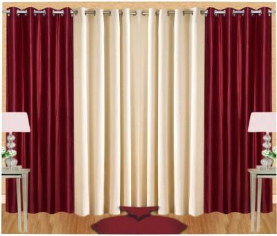 Pendu Art Polyester Maroon, Cream Plain Eyelet Long Door Curtain