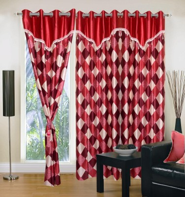 Creativehomes Polyester Multicolor Solid Eyelet Door Curtain