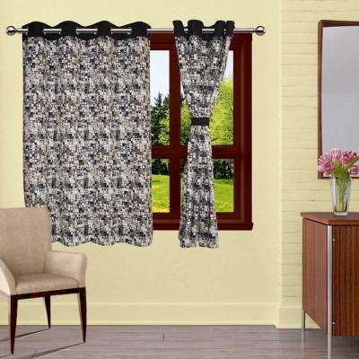 Lushomes Cotton Black Printed Eyelet Window Curtain
