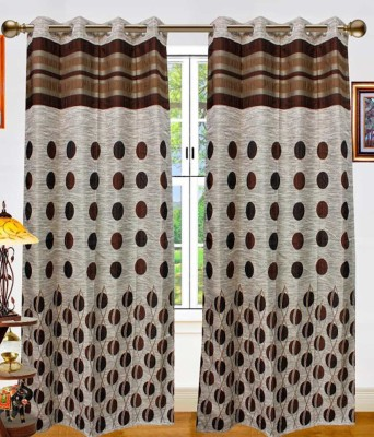 STC Jacquard Brown Self Design Eyelet Door Curtain