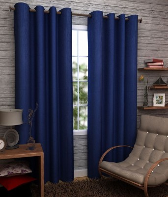 Angel Homes Polyester Blue Floral Eyelet Long Door Curtain