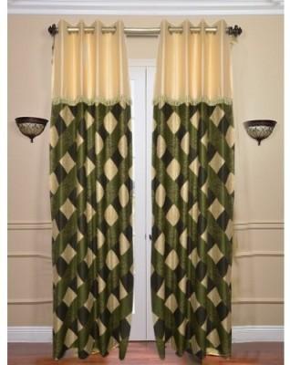 Sai Arpan Polyester Green Solid Eyelet Door Curtain