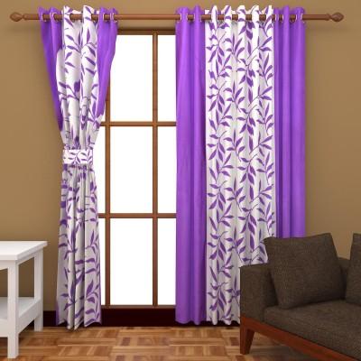 Handy Texty Polyester Purple Printed Eyelet Door Curtain