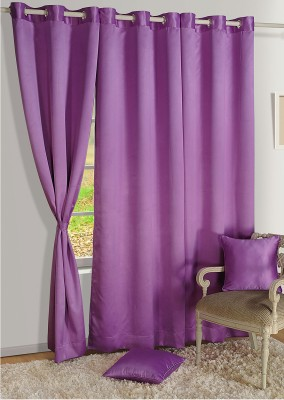Swayam Silk Purple Floral Eyelet Door Curtain