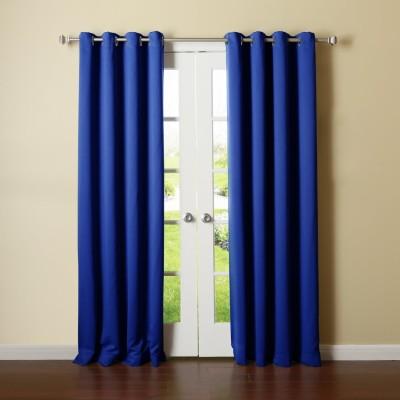 Panipat Textile Hub Polyester Blue Plain Eyelet Door Curtain