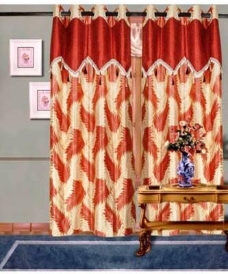 Handloomhub Polyester Rust Self Design Eyelet Long Door Curtain