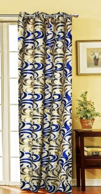 India Furnish Polycotton Blue Floral Eyelet Long Door Curtain