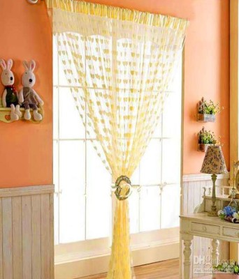 Shiv Fabs Polyester Yellow Striped Eyelet Door Curtain