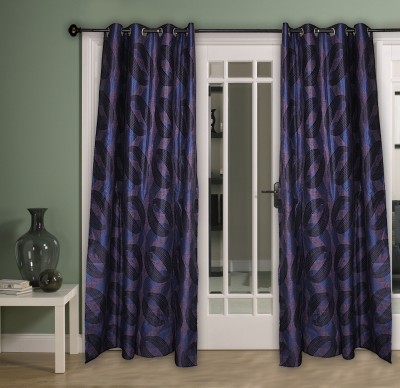 Home Aid Polyester Blue Abstract Ring Rod Door Curtain
