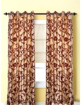 Handloomhub Polyester Cream Floral Eyelet Door Curtain