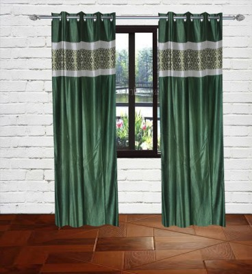 Gaurav Curtains Polyester Green Floral Eyelet Window & Door Curtain