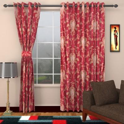 HomeTex Polycotton Maroon Printed Eyelet Long Door Curtain