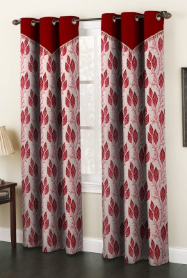 Home Cloud Polyester Maroon Abstract Eyelet Long Door Curtain