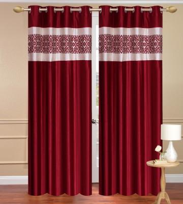 Daddyhomes Polyester Maroon Plain Curtain Door Curtain