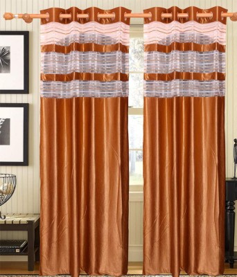 GrehSaaj Polycotton Gold Solid Eyelet Door Curtain