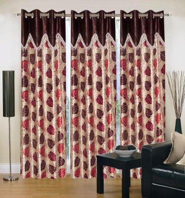 Brand Decor Polyester Brown Floral Eyelet Window Curtain