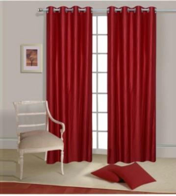 om trading Polyester Maroon Plain Curtain Window & Door Curtain
