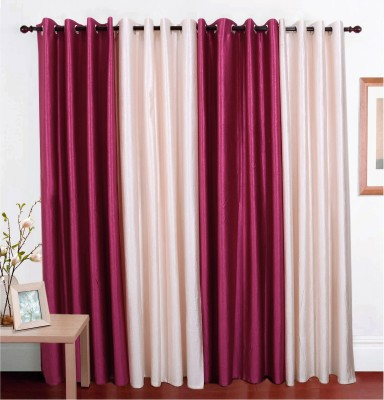 Jds Polyester Magenta, Cream Solid Ring Rod Door Curtain
