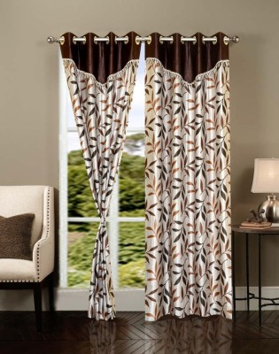 Brand Decor Polyester Multicolor Floral Eyelet Long Door Curtain