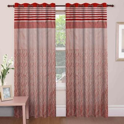 Mdf Curtains Jacquard Maroon Geometric Eyelet Door Curtain