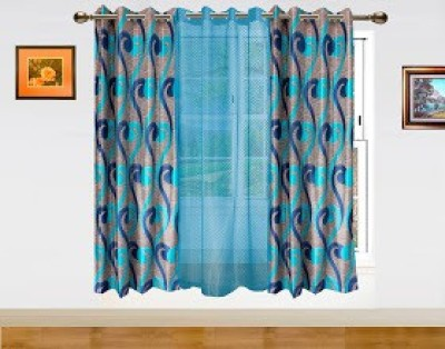 Dekor World Polyester Blue Abstract Eyelet Window Curtain