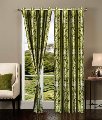 Z Decor Polyester Green Abstract Eyelet Door Curtain