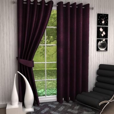 Fashion Weaving Polyester Purple Plain Eyelet Window Curtain