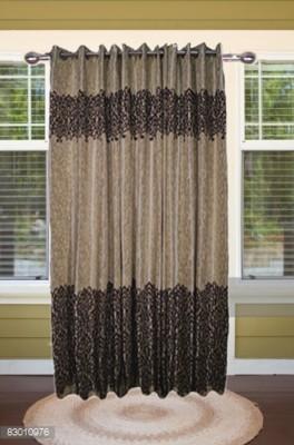 shoppeholics Polyester Brown Self Design Curtain Door Curtain