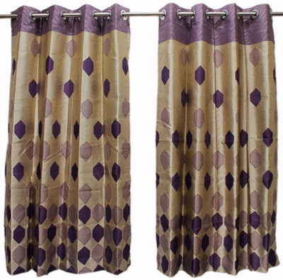 STORE17 Polyester Purple Printed Eyelet Window Curtain