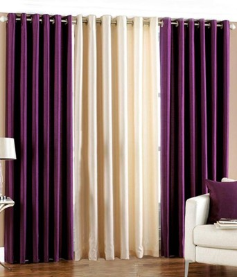 White Wave Polyester Purple Solid Eyelet Long Door Curtain