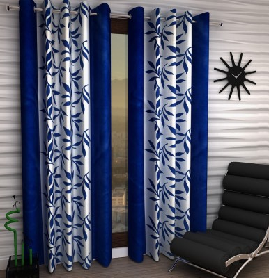 Home Fantasy Polyester Blue Floral Eyelet Window Curtain