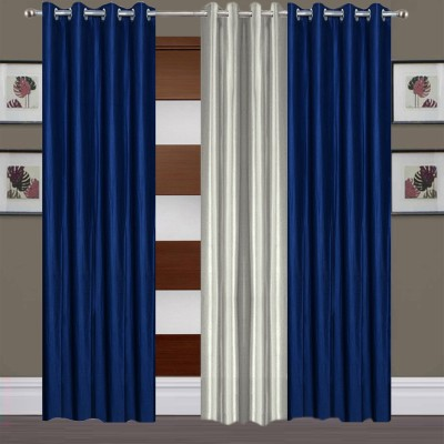 Thiwas Polyester Blue, Grey Plain Eyelet Long Door Curtain