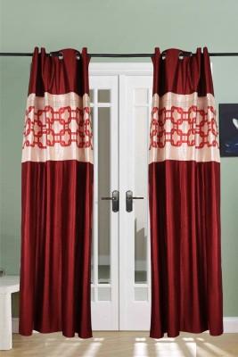 The Handloom Store Polyester Maroon Plain Eyelet Window & Door Curtain