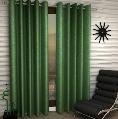 Home Fantasy Polyester Green Plain Eyelet Window Curtain