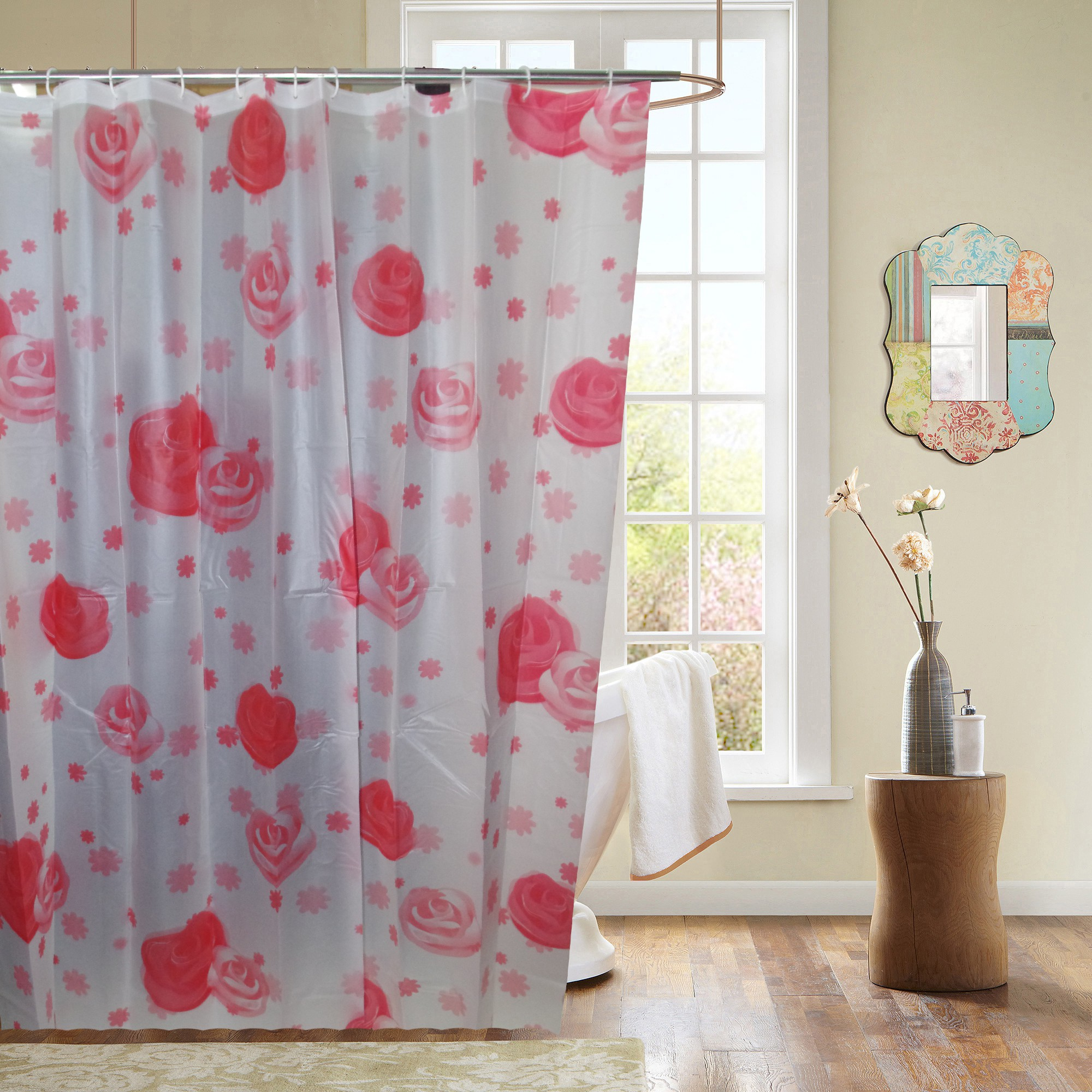 Gran Ethylene Vinyl Acetate Multicolor Abstract Curtain Shower