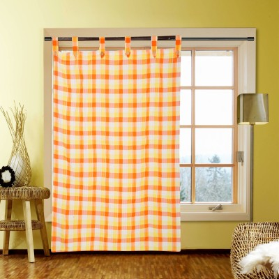 Handloom Factory Cotton Orange Striped Tab Top Window Curtain