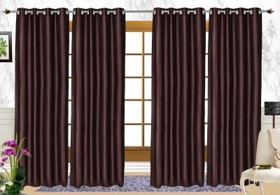 C Polyester Brown Solid Eyelet Long Door Curtain