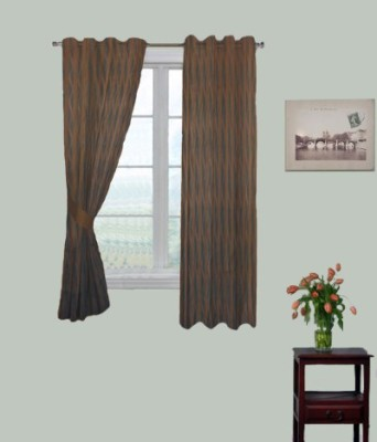 Fabutex Polyester Brown Checkered Eyelet Window Curtain