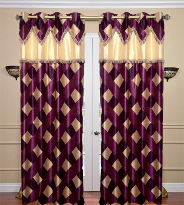 JBG Home Store Polyester Purple Floral Eyelet Door Curtain