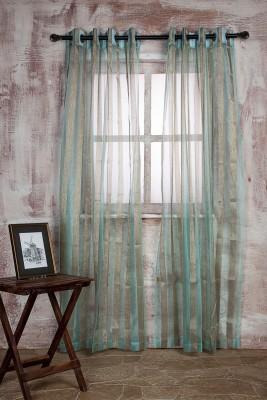 Marigold Polyester SEA GREENBEIGE Striped Curtain Long Door Curtain