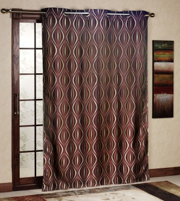 R home Polyester Purple Floral Eyelet Door Curtain