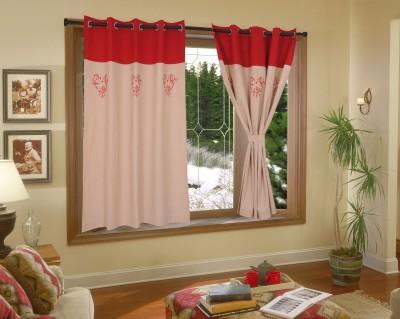Elan Cotton Beige Printed Eyelet Window Curtain