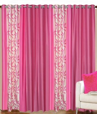 sajaawat Polyester Pink Floral Curtain Door Curtain